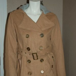 NWT Bongo Beige Double Breasted Belted with Hoodie